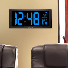 large led clock with indoor temperature in blue display
