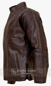 commander waxed perforated mens leather jacket back view commander