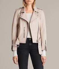 allsaints wshd pink women s balfern leather biker jacket