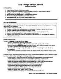 after having my students have the things they carried by this end of unit assessment requires students to compose an ap language style rhetorical analysis prompt and rubric for one or more chapter of the novel and