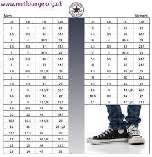 Converse Size Chart Men Converse Sneakers For Men High Cut Metlounge Org Uk