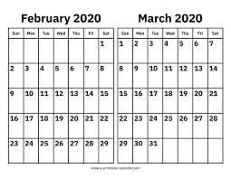 Month Of March Calendar 2020 February And March 2020 Calendar Printable Calendar 2020