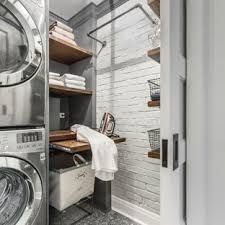 Image Vintage Laundry Room Small Industrial Porcelain Floor Laundry Room Idea In Chicago With Wood Countertops Houzz 75 Most Popular Laundry Room Design Ideas For 2019 Stylish Laundry