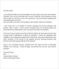 Recommendation Letter For Teacher Assistant Character