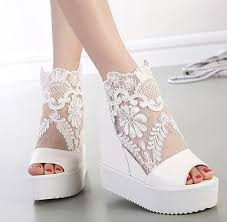 sexy wedge sandal silver white lace wedding boots high platform Cheap Wedding Shoe Boots sexy wedge sandal silver white lace wedding boots high platform peep toe ankle boots size 34 to 39 off white bridal shoes paradox pink wedding shoes from Silver Wedding Shoes