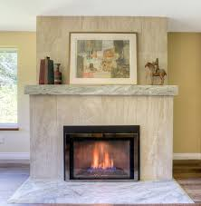 brick fireplace refaced in granite