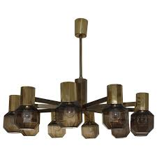 brass smoked glass chandelier in the style of hans agne jakobsson for
