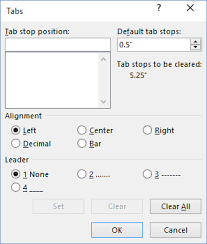 type of tab setting tabs using the tabs dialog box