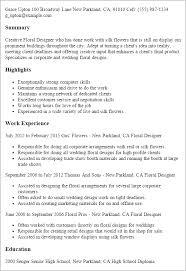 Resume Templates: Floral Designer