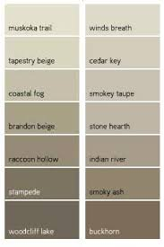 Shades Of Taupe Chart Benjamin Moore Favorite Taupes Raccoon Hollow Indian