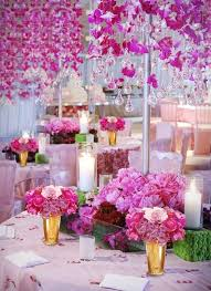 hanging pink flowers and chandelier glass droplets pink dream wedding decoration