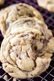 brown er toffee cookies soft chewy with sweet crunchy toffee pieces and a sprinkle