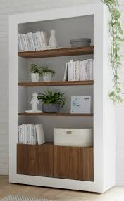 como two door four shelf bookcase gloss white and walnut finish