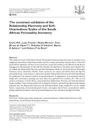 PDF) The construct validation of the Relationship Harmony and  Soft-Heartedness Scales of the South African Personality Inventory