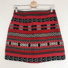 Aztec Design Skirt Zara Women Aztec Design Skirt Pink Red Black And Depop