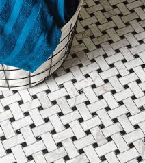 a basketweave mosaic floor in polished marble from original style updates the classic black and white