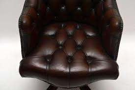 english antique deep oned leather swivel desk chair for