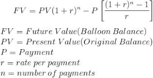 Balloon Balance Of A Loan Formula And Calculator