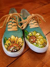 Cool Designs To Paint On Shoes Custom Hand Painted Shoes By Rainbowbuck On Etsy 30 00