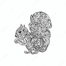 Squirrel Coloring Page Stock Photo Nuarevik 79800582
