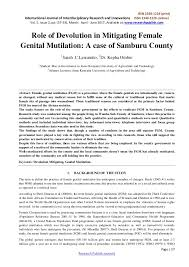 role of devolution in mitigating female genital mutilation a case of  issn 2348 1218 print international journal of interdisciplinary research and innovations issn 2348