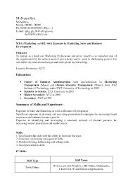 Sample Resume Format For Mba Marketing Fresher Best Resume Format