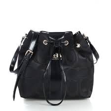 Popular Coach Drawstring Medium Black Shoulder Bags Fce Online F2j2a