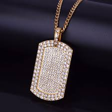 iced out military dog tag pendant necklace