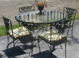 black wrought iron furniture. Dining Room Sets From Iron : Vintage Outdoor Table With Small Round Glass Top Black Wrought Furniture