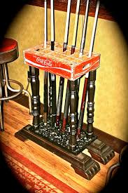 Vintage Coco-Cola crate and old table base up-cycled into a pool cue