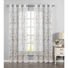 wavy leaves embroidered sheer extra wide 54 x 84 grommet curtain panel