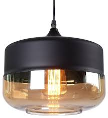 1 light black cylinder glass pendant light with glass shade matte black