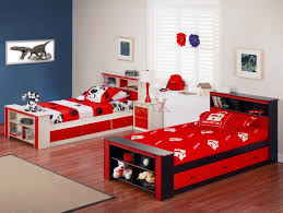 modern bedroom for boys. Boys Modern Bedrooms White Ceiling Yellow Pillow Blue Striped Carpet Red Wooden Bunk Bed Attached Bedroom For