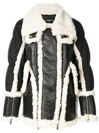 dsquared2 shearling trim padded jacket 961 men clothing jackets leather dsquared he wood attractive