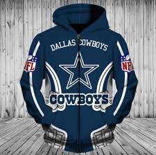 Nfl Football Dallas Cowboys 3d Hoodie With Zipper Sweatshirt