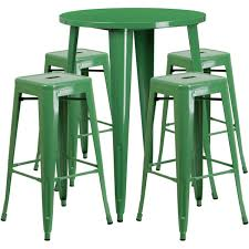 30 round green metal indoor outdoor bar table set with 4 square seat