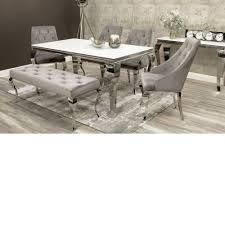 Louis 160cm White Glass Dining Table Inc 4 Cassia Chairs And Louis