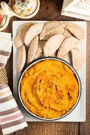 sweet potato and roasted red pepper hummus via veggie vegan glutenfree