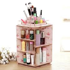 diy makeup organizer stay gold degree rotating cosmetic case desktop wood storage box cosmetics make up diy makeup organizer