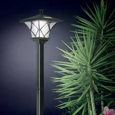 ideaworks solar powered led yard lamp with 5 foot pole for outdoor lightingno wiring or batteries by jobar international com