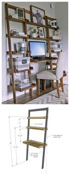 diy leaning wall ladder desk how to build your own leaning ladder desk out of all 1x boards easy tutorial by ana white com