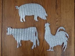 set corrugated metal pig cow rooster farmhouse barnyard farm animal wall signs