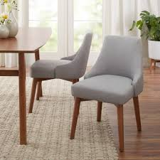 better homes gardens reed mid century modern dining chair set of 2 smoke com