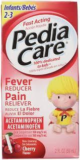 Pediacare Infants 2 3 Yrs Acetaminophen Fever Reducer Pain Releiver Non Staining Cherry 2 Fluid Oz