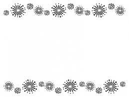 花火の上下白黒フレーム飾り枠イラスト 無料イラスト かわいいフリー