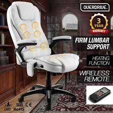 white 8 point massage executive office chair by overdrive