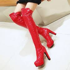 red stripper shoes patent leather chunky heel over the knee boots image 1