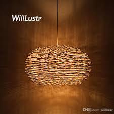 wicker pendant light. Willlustr Wicker Pendant Lamp Handmade Suspension Light Bird Nest Shape Hanging Lighting Bar Hotel Restaurant Mall Lounge Porch Art Glass A