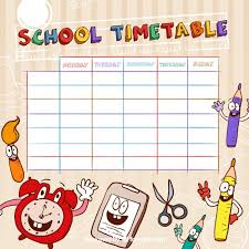 Funny School Timetable Template Vector | Free Download