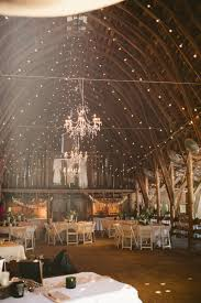 chandelier in barn wedding